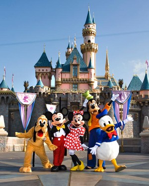 Pluto, Mickey, Minnie, Goofy & Donald