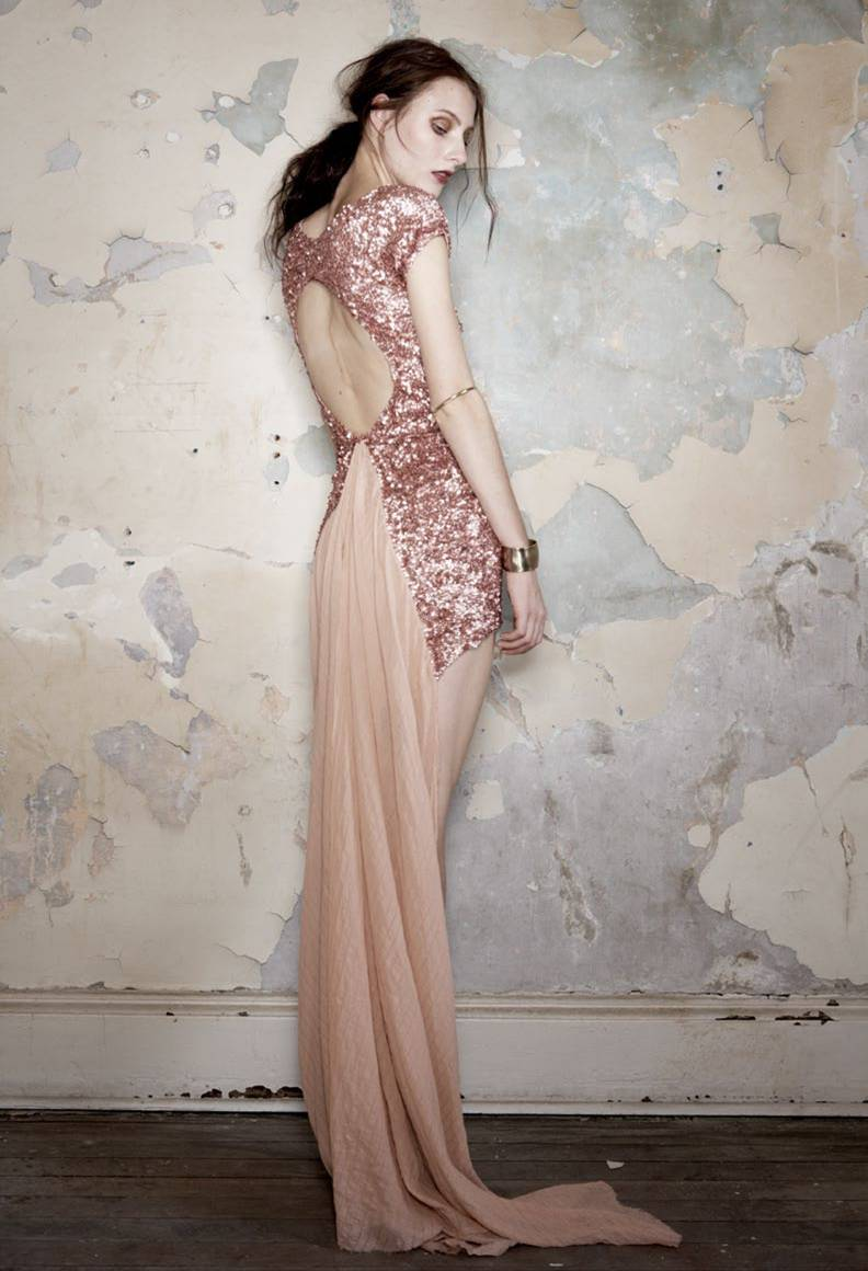 Aje rose gold dress velvet birdie for Pink and gold wedding dress