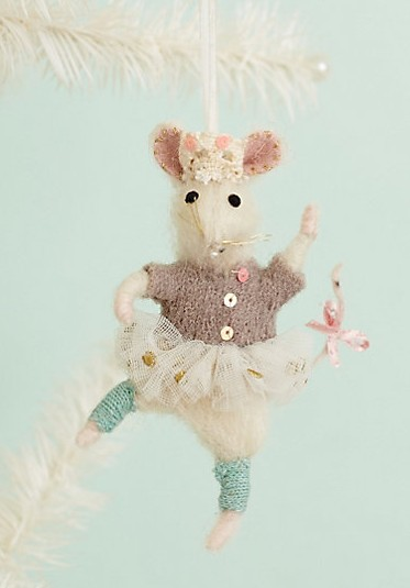 Anthropologie Mouse Ballerina Ornament