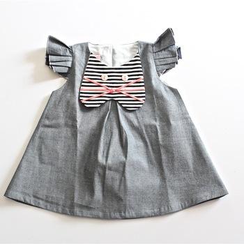 Denim Kitten Girls Dress with back Button details