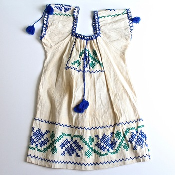 Vintage Mexican Embroidered Dress with Pom Pom detail